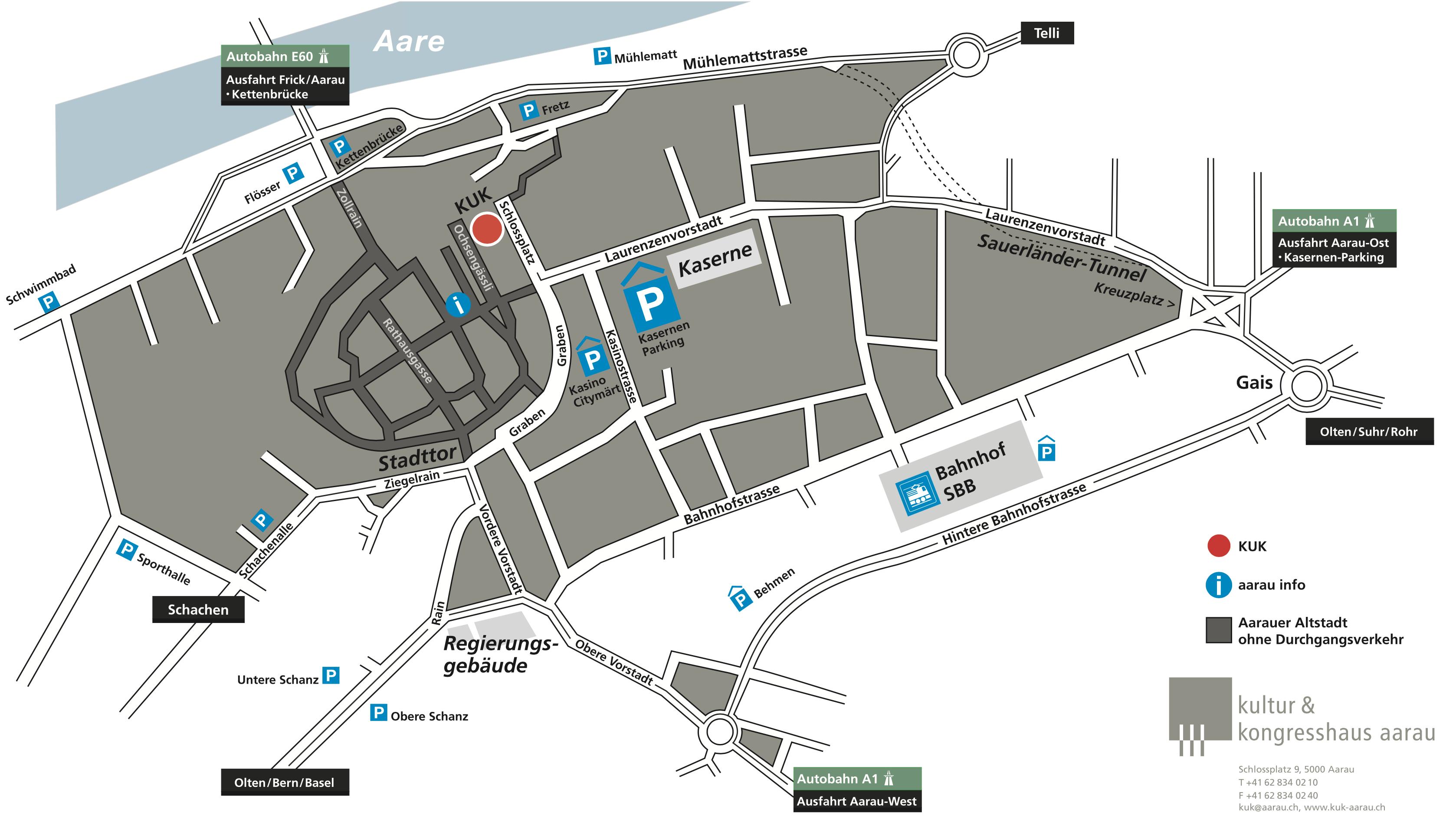 Lageplan vom Kultur- und Kongresszentrum Aarau